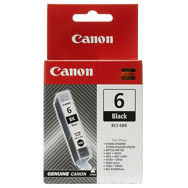 Canon Genuine BCI-6BK Black Ink Cartridge for S9000/S900/S830D/S820D/S820/S800