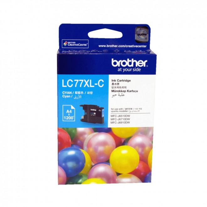Brother Genuine LC-77XLC Cyan High Yield Ink Cartridge for MFC-J6910DW/6710DW