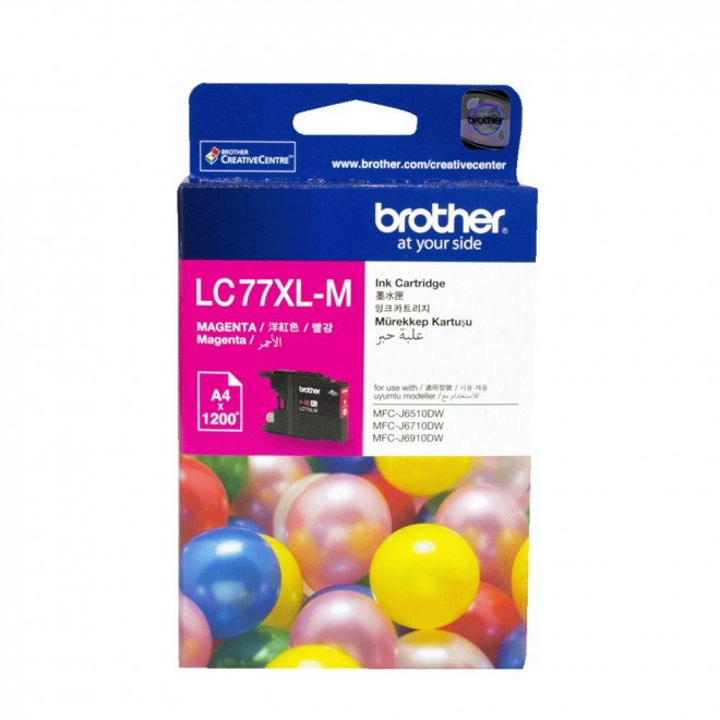 Brother Genuine LC-77XLM Magenta High Yield Ink Cartridge for MFC-6910DW/6710DW