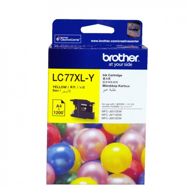 Brother Genuine LC-77XLY Yellow High Yield Ink Cartridge for MFC-6910DW/6710DW