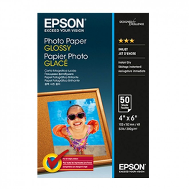 "Epson Genuine S042547 Glossy Photo Paper 4""x6"" 50 Sheets 200GSM"