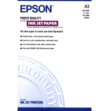 Epson Genuine S041068 Photo Quality Inkjet Paper A3 100 Sheets 102GSM